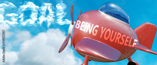 Being yourself helps achieve a goal - pictured as word Being yourself in clouds, Canvas Print