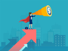Vector Of A Super Business Woman Standing On The Red Arrow Growing Up Looking Through A Telescope Searching For New Financial Opportunity.