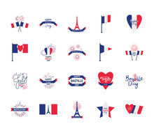 French Flags And Bastille Day Icon Set, Flat Style