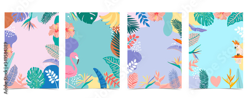 Collection of summer background set with palm,flamingo,flower Wallpaper Mural