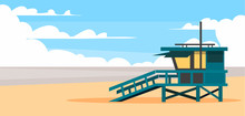 Lifeguard Beach House In Santa Monica.Vector Illustration.