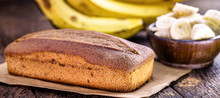 Homemade Banana Cake, With Fruit In The Background. Typical Fruit Cake Made In Brazil.