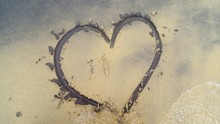 High Angle View Of Heart Shape Drawn At Sandy Beach