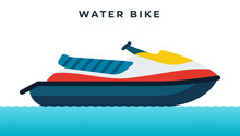 Water Bike, Jet Ski, High-speed Personal Watercraft Vector Icon Flat Isolated.