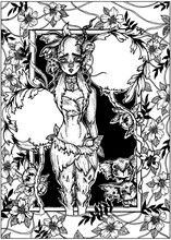 Cute Magic Nymph With Sad Look And Pointed Ears, With Petals And Horn On A Head, Stand In Loincloth With Thorns On Legs Nearby With Large Flower Balls And Two Kind Baby Monsters In Surround By Plants.