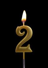 Burning Birthday Golden Candle...