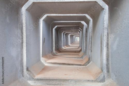 concrete pipes on a large storage area Fototapeta
