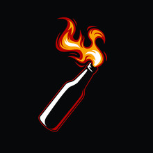 Molotov Cocktail Bottle With Fire On Black Background. Anarchy And Protest Vector Illustration - Vector