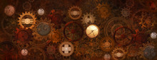 Steampunk Rusty Banner With Ge...