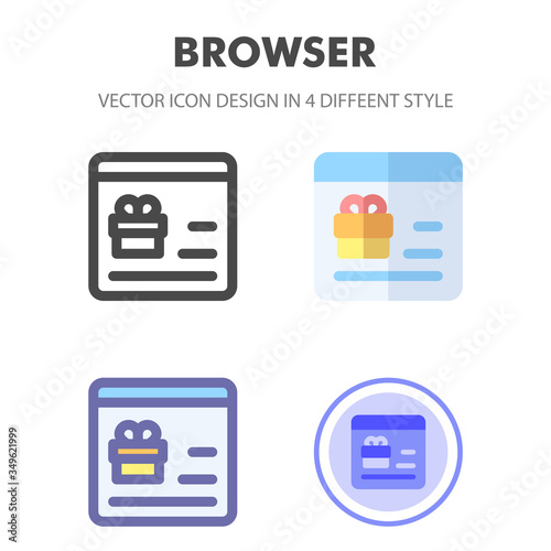 Fototapety, obrazy: browser icon design in 4 different style. Icon design for your web site design, logo, app, UI. Vector graphics illustration and editable stroke. EPS 10.