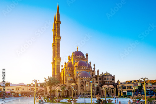 Stampa su Tela Beautiful Al Mustafa Mosque in Old Town of Sharm El Sheikh in Egypt, at sunset