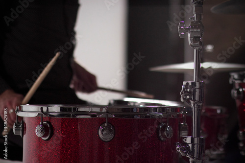 Fotografering Midsection Of Man Playing Drums