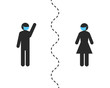 Social distancing concept with stick figure people wearing face mask and keeping distance while meeting in public. Silhouette of man waves his hand at woman separated by dotted line.