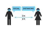 Znak określający dystans społeczny z ludźmi utrzymującymi odległość 2 metrów lub 6 stóp. Mężczyzna i kobieta nosi maskę. Strzałka jako symbol przerwy między dwiema figurkami. Piktogram na białym tle.