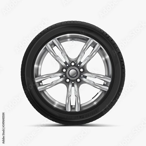 Photo Front view of car wheel isolated on white