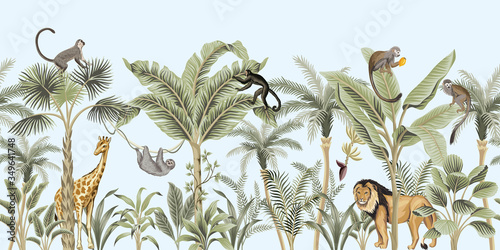 Vintage palm tree, banana tree, lion, giraffe, sloth, monkey african animal floral border blue background. Exotic safari wallpaper.