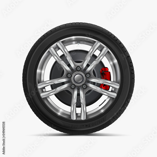 Photo Car wheels isolated on a white background