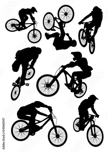 Photo silhouettes of athletes in Bicycle motocross bmx vector