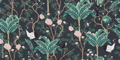 Fotografie, Tablou Vintage garden tree, banana tree, birds, crane floral seamless pattern black background