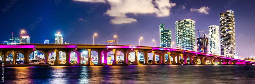Fototapeta Panoramic View Of Illuminated City At Night