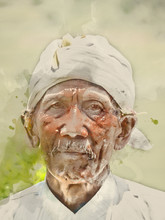 Besakih, Bali / Indonesia - 11/01/2017 Painterly Converted Image Of A Local Man Working And Living On The Doorstep Of Mount Agung In Bali Indonesia.