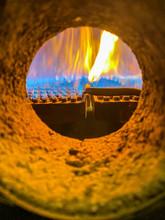 Close Up Of Burner In A Boiler.