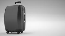 Black Carbon Fiber Travel Bag Isolated On Bright Background. 3d Rendering