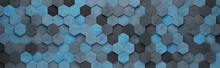 Blue Hexagon Tiles 3D Pattern Background