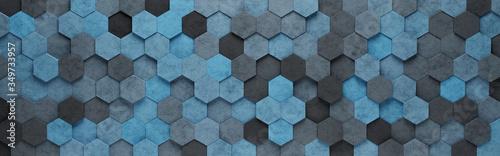 Obraz na plátně Blue Hexagon Tiles 3D Pattern Background