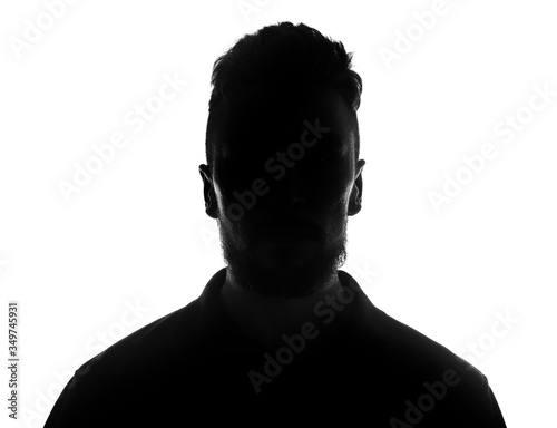 Silhouette of male person over white Canvas Print