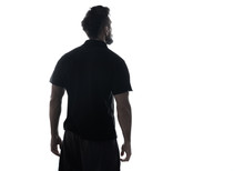 Silhouette Of Male Person , Back View Back Lit Over White