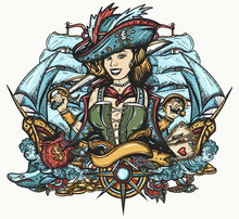 Pirate Girl And Ships. Cartoon Character. Sea Wolf Female. Crime Sailor Woman Portrait, Pin Up Style. Old School Tattoo Art. Marine Adventure T-shirt Design