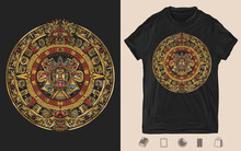 Aztec Sun Stone. Creative Print For Dark Clothes. T-shirt Design. Template For Posters, Textiles, Apparels. Mayan Calendar. Ancient Hieroglyph Signs And Symbols. Mexican Mesoamerican Monolith