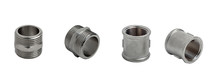 Set Of Metal Couplings And Nipples In Different Angles Isolated On White Background. Pipe Fittings.