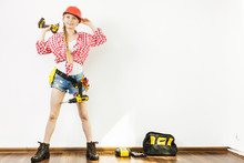 Girl Using Some Power Tools Fo...