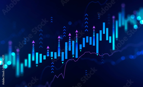 Obraz Growing digital graph background, growth - fototapety do salonu