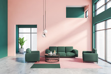 Pink And Green Living Room Int...