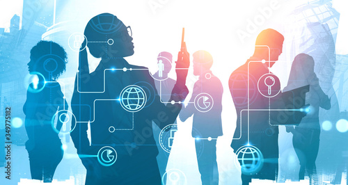 Photo Business people in city, online business interface