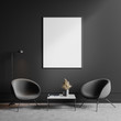 canvas print picture Two gray armchairs in living room with poster