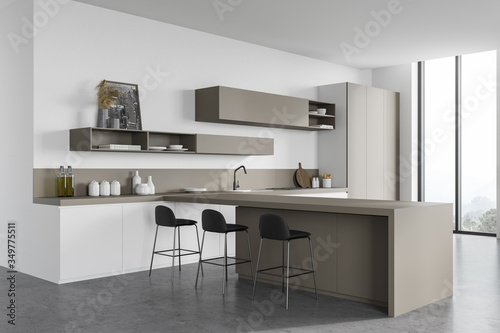 Obraz White and beige kitchen corner with bar - fototapety do salonu