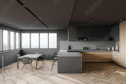 Obraz Gray and wood kitchen interior with bar and table - fototapety do salonu