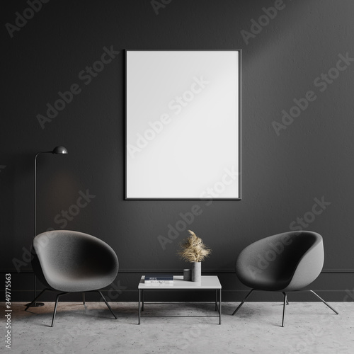 Obraz Two gray armchairs in living room with poster - fototapety do salonu