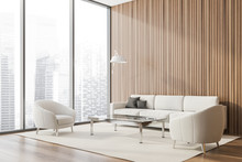 Panoramic Wood Lounge Corner, Armchairs And Sofa