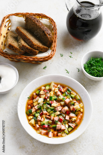 Fototapeta Cold russian soup Okroshka obraz
