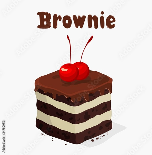 Fototapeta chocolate brownies isolated on white background.vector illustration obraz