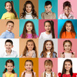 collage of happy smiling faces of kids. Happy child girls and boys expressing different positive emotions. Human emotions, facial expression concept.