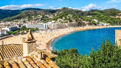Photo View of the bay of Tossa de Mar on the Costa Brava,  Spain
