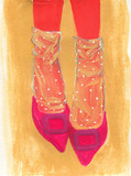 shoes. fashion sketch. watercolor illustration - 349806954