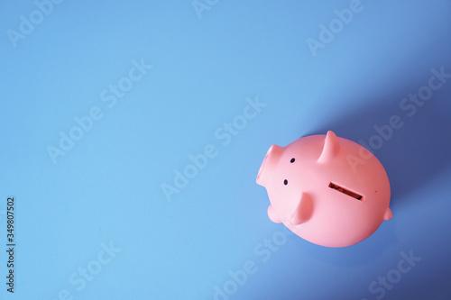 Slika na platnu High Angle View Of Pink Piggy Bank On Blue Background