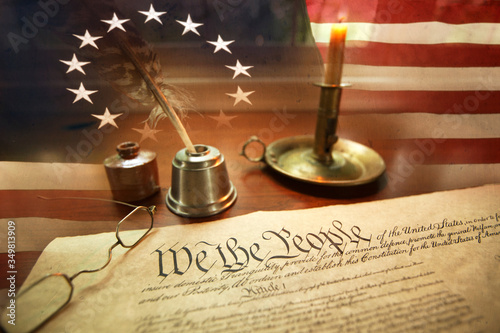 Digital Composite Image Of American Flag And Declaration Of Independence Fototapete